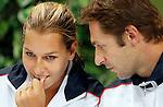 Tenis, Fed Cup 2011, play-off for group A.Slovakia Vs. Serbia, Official Draw.Dominika Cibulkova, left and team captain Matej Liptak.Bratislava, 15.04.2011..foto: Srdjan Stevanovic/Starsportphoto ©
