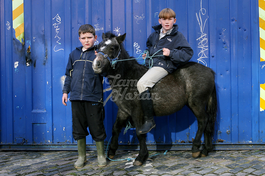2/11/2008. Mick and Johnny are pictured at the Smithfield horse market Dublin. The Dublin city council want to move the market but face difficulties because of ancient market by laws..Picture James Horan/Photocall Ireland