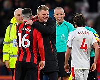 A happy AFC Bournemouth Manager Eddie Howe congratulates Lewis Cook of AFC Bournemouth during AFC Bournemouth vs Stoke City, Premier League Football at the Vitality Stadium on 3rd February 2018