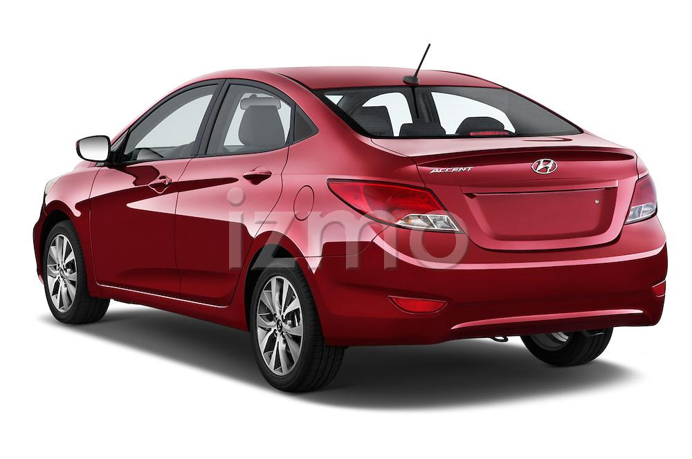Car pictures of rear three quarter view of a 2015 Hyundai Accent GLS 4-Door 6-Speed Automatic 2 Door Sedan Angular Rear
