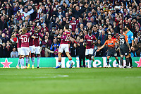BIRMINGHAM, ENGLAND - OCTOBER 20: Tammy Abraham of Aston Villa celebrates scoring the opening goal during the Sky Bet Championship match between Aston Villa and Swansea City at Villa Park on October 20, 2018 in Birmingham, England. (Photo by Athena Pictures/Getty Images)