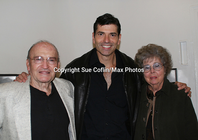 """Actor Joe Barbara (Captain Joe Carlino - Another World and Paolo Caselli - All My Children) poses with his dad Joe and mom Peggy as he stars in the musical """"I Come For Love"""" as Scoop as a part of the New York Musical Theatre Festival at the Chernuchin Theatre, NYC, NY. (Photo by Sue Coflin/Max Photos)"""