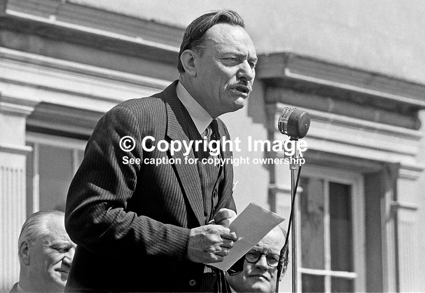 UK Conservative Party MP, Enoch Powell, speaking at an Ulster Unionist Party fete in Greyabbey, Co Down. 196906070187c. 187/69.<br />