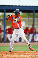 GCL Astros second baseman Juan Pineda (16) at bat during a game against the GCL Nationals on August 14, 2016 at the Carl Barger Baseball Complex in Viera, Florida.  GCL Nationals defeated GCL Astros 8-6.  (Mike Janes/Four Seam Images)