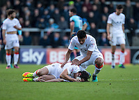 Danny Hylton of Luton Town goes down clutching his face during the Sky Bet League 2 match between Wycombe Wanderers and Luton Town at Adams Park, High Wycombe, England on the 21st January 2017. Photo by Liam McAvoy.