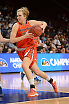 March 7, 2014; Las Vegas, NV, USA; Pepperdine Waves forward/center Tessa Emerson (25) dribbles against the Brigham Young Cougars during the second half of the WCC Basketball Championships at Orleans Arena.