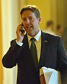 United States Senator Ben Sasse (Republican of Nebraska) speaks on his phone as he walks to the US Senate Chamber after the release the newest GOP version of the bill to repeal and replace Obamacare in the US Capitol in Washington, DC on Thursday, July 13, 2017.<br /> Credit: Ron Sachs / CNP