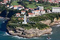 France, Aquitaine, Pyrénées-Atlantiques, Pays Basque, Biarritz: Le Phare à la Pointe Saint-Martin, //  France, Pyrenees Atlantiques, Basque Country, Biarritz: The  Pointe Saint-Martin and the light house