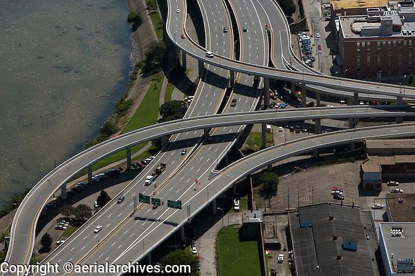 aerial photograph I-64 freeway interchange downtown Louisville, Kentucky