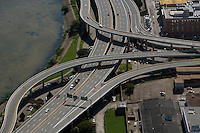 aerial photograph I-64 freeway interchange downtown Louisville, Kentucky