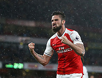 Arsenal's Olivier Giroud celebrates after assisting his sides second goal<br /> <br /> Photographer Rob Newell/CameraSport<br /> <br /> The Premier League - Arsenal v Sunderland - Tuesday May 16th 2017 - Emirates Stadium - London<br /> <br /> World Copyright &copy; 2017 CameraSport. All rights reserved. 43 Linden Ave. Countesthorpe. Leicester. England. LE8 5PG - Tel: +44 (0) 116 277 4147 - admin@camerasport.com - www.camerasport.com
