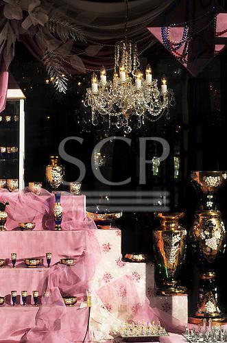 Bratislava, Slovakia: shop window with chandelier and expensive glassware.