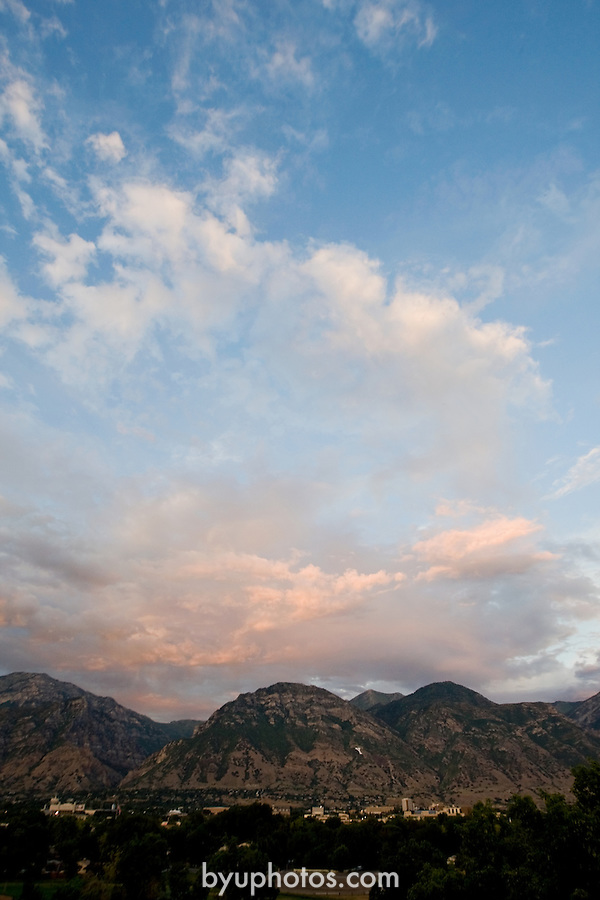 GCS Campus Sunset looking East toward Y mountain..August 6, 2008..Photo by Mark A. Philbrick..Copyright BYU Photo 2008.All Rights Reserved .photo@byu.edu  (801)422-7322