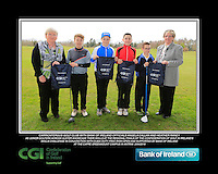 Carrickfergus GC team with Bank of Ireland Officials Angela Callan and Heather Raney with Junior golfers from across Ulster practicing their skills at the regional finals of the Dubai Duty Free Irish Open Skills Challenge at The CAFRE Greenmount Campus in Antrim. 2/04/2016.<br /> Picture: Golffile | Fran Caffrey<br /> <br /> <br /> All photo usage must carry mandatory copyright credit (© Golffile | Fran Caffrey)