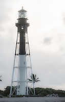 Lighthouse at Hillsboro Inlet on a cloudy morning.
