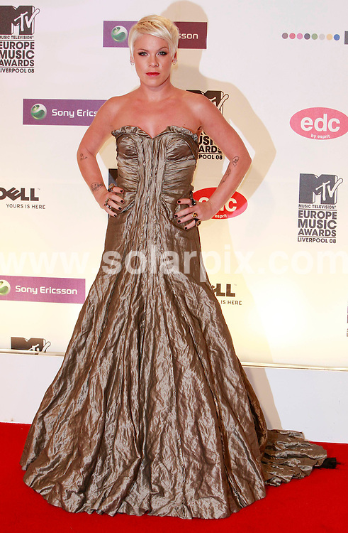 **ALL ROUND PICTURES FROM SOLARPIX.COM**.**SYNDICATION RIGHTS FOR UK AND SPAIN ONLY**.pictured at the MTV Europe Music Awards 2008 in Liverpool, UK. 6th November 2008..This pic: Pink..JOB REF: 7814 CPR (Heinz)       DATE: 06_11_2008.**MUST CREDIT SOLARPIX.COM OR DOUBLE FEE WILL BE CHARGED* *UNDER NO CIRCUMSTANCES IS THIS IMAGE TO BE REPRODUCED FOR ANY ONLINE EDITION WITHOUT PRIOR PERMISSION*