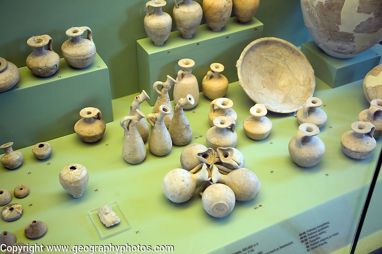 Ancient pottery for cremation burials, Archaeological museum, Rhodes, Greece