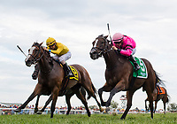FRANKLIN, KY - SEPTEMBER 08: Ruby Notion #5, ridden by FLorent Geroux nips Lull #6, ridden by Brian Hernandez, at the wire to win the Kentucky Downs Ladies Sprint on Kentucky Turf Cup Day at Kentucky Downs on September 8, 2018 in Franklin, Kentucky. (Photo by Scott Serio/Eclipse Sportswire/Getty Images)