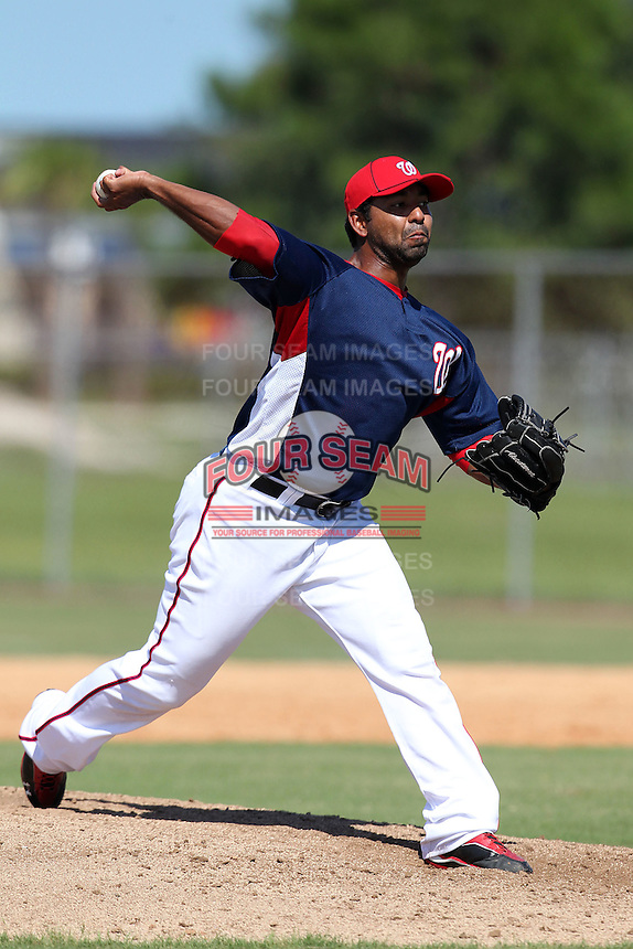 Washington Nationals pitcher Hector Nelo during an Instructional League game against the national team from Italy at Carl Barger Training Complex on September 28, 2011 in Viera, Florida.  (Mike Janes/Four Seam Images)
