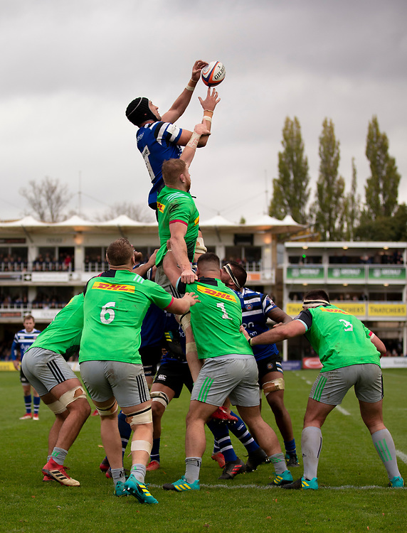 Bath Rugby's Luke Charteris claims the lineout<br /> <br /> Photographer Bob Bradford/CameraSport<br /> <br /> Premiership Rugby Cup Round 1 - Bath Rugby v Harlequins - Saturday 27th October 2018 - The Recreation Ground - Bath<br /> <br /> World Copyright © 2018 CameraSport. All rights reserved. 43 Linden Ave. Countesthorpe. Leicester. England. LE8 5PG - Tel: +44 (0) 116 277 4147 - admin@camerasport.com - www.camerasport.com
