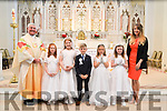 Ballybunion 1st Communion: Pupils from Kilconly NS,  Ballybunion who received their 1st communion from Fr. Sean Hannafin  at St. John's Church, Ballybunion on Saturday last  pictured with their teacher M/s Aoife Walsh.
