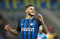 Calcio, Serie A: Inter - Napoli, Milano, stadio Giuseppe Meazza (San Siro), 11 marzo 2018.<br /> Inter's captain Mauro Icardi reacts during the Italian Serie A football match between Inter Milan and Napoli at Giuseppe Meazza (San Siro) stadium, March 11, 2018.<br /> UPDATE IMAGES PRESS/Isabella Bonotto