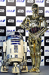 March 20, 2017, Tokyo, Japan - US movie Star Wars' robots C-3PO and R2-D2 attend a presentation of All Nippon Airways (ANA) C-3PO jetliner at a hanger of ANA at Tokyo's Haneda airport on Monday, March 20, 2017. C-3PO designed Boeing 777-200 jet will start domestic flight service from March 21.    (Photo by Yoshio Tsunoda/AFLO) LwX -ytd-