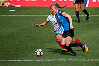 Kansas City, MO - Saturday September 9, 2017: Yuki Nagasato, Becky Sauerbrunn during a regular season National Women's Soccer League (NWSL) match between FC Kansas City and the Chicago Red Stars at Children's Mercy Victory Field.