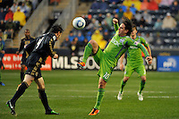 Mauro Rosales (10) of the Seattle Sounders FC plays the ball. The Philadelphia Union and the Seattle Sounders FC played to a 1-1 tie during a Major League Soccer (MLS) match at PPL Park in Chester, PA, on April 16, 2011.
