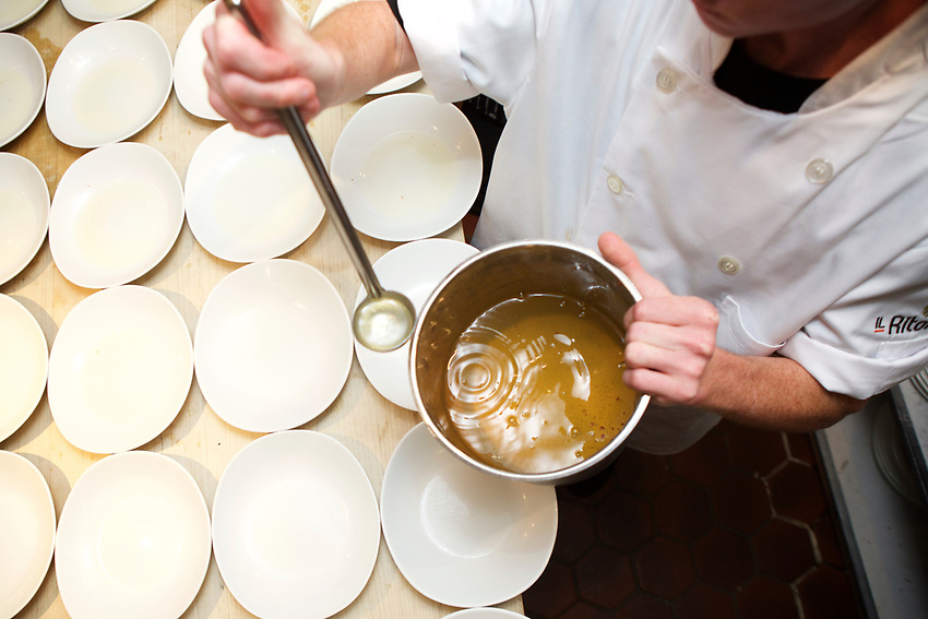 New York, NY - July 18, 2017: Chef David Benstock and his team from Il Ritorno in St. Petersburg, Florida presents an Italian summer dinner at the James Beard House.<br /> <br /> <br /> Credit: Clay Williams for the James Beard Foundation.<br /> <br /> &copy; Clay Williams / http://claywilliamsphoto.com