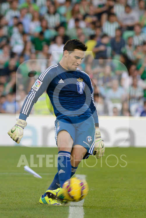 match between RealGoalkeeper Sotres during the Betis and Recreativo de Huelva day 10 of the spanish Adelante League 2014-2015 014-2015 played at the Benito Villamarin stadium of Seville. (PHOTO: CARLOS BOUZA / BOUZA PRESS / ALTER PHOTOS)