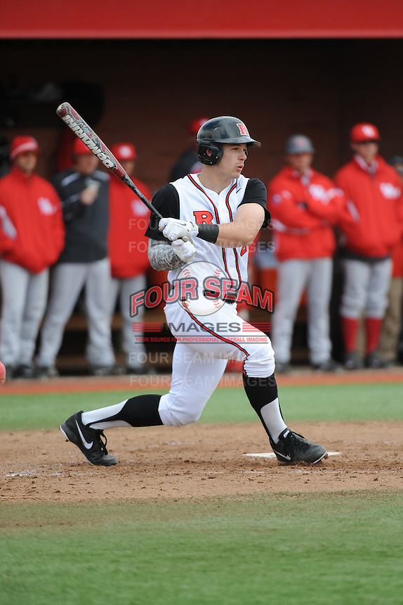 Rutgers University Scarlet Knights infielder Brian O'Grady (21) during game game 1 of a double header against the University of Houston Cougers at Bainton Field on April 5, 2014 in Piscataway, New Jersey. Rutgers defeated Houston 7-3.      <br />  (Tomasso DeRosa/ Four Seam Images)