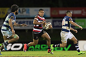 Luteru Laulala with ball in hand. Mitre 10 Cup rugby game between Counties Manukau Steelers and Auckland played at ECOLight Stadium, Pukekohe on Saturday August 19th 2017. Counties Manukau Stelers won the game 16 - 14 and retain the Dan Bryant Memorial trophy.<br /> Photo by Richard Spranger.