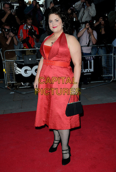 RUTH JONES .Attending the GQ Men of the Year Awards at the Royal Opera House, Covent Garden, London, England,.2nd September 2008..arrivals full length red dress belt black tights double strap mary jane shoes bag halterneck .CAP/CAS.©Bob Cass/Capital Pictures