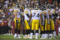 03 November 2008:  Steelers QB Ben Roethlisberger (7) calls a play in the huddle. The Pittsburgh Steelers defeated the Washington Redskins 23-6 on Monday Night Football at FedEx Field in Landover, MD.