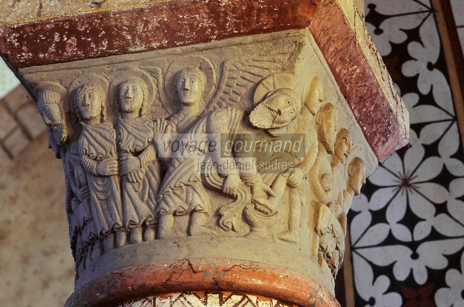 Europe/France/Auvergne/63/Puy-de-Dôme/Chauriat: Chapiteau - Lavement des pieds - Sculpture, Détail sur chapiteaux
