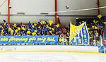 Huddinge 2015-09-20 Ishockey Division 1 Huddinge Hockey - S&ouml;dert&auml;lje SK :  <br /> S&ouml;dert&auml;ljes supportrar med ett tifo inf&ouml;r matchen mellan Huddinge Hockey och S&ouml;dert&auml;lje SK <br /> (Foto: Kenta J&ouml;nsson) Nyckelord:  Ishockey Hockey Division 1 Hockeyettan Bj&ouml;rk&auml;ngshallen Huddinge S&ouml;dert&auml;lje SK SSK supporter fans publik supporters