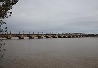 General view of the Pont de Pierre over the River Garonne, Bordeaux, Nouvelle-Aquitaine, France on 16.10.19.