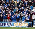 Nikica Jelavic celebrates his goal to the Rangers fans