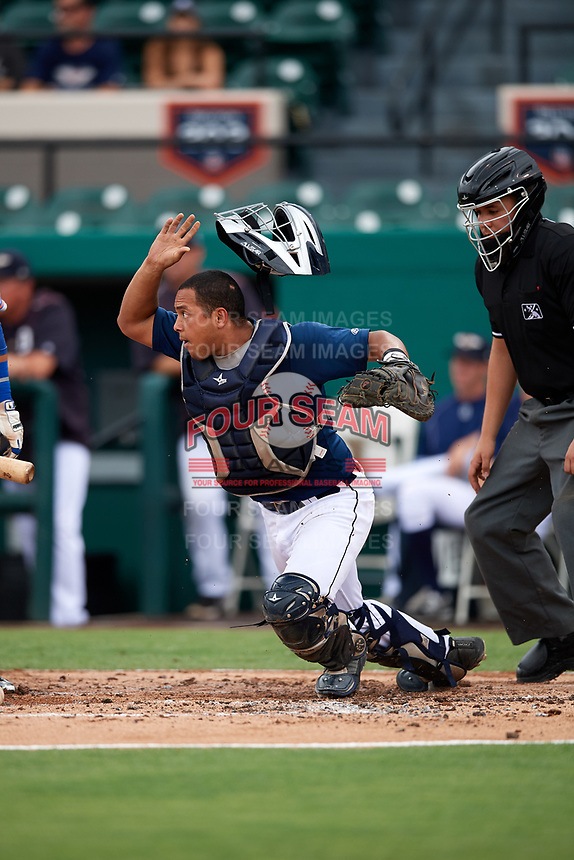Lakeland Flying Tigers catcher Arvicent Perez (13) tracks down a loose ball during the first game of a doubleheader against the St. Lucie Mets on June 10, 2017 at Joker Marchant Stadium in Lakeland, Florida.  Lakeland defeated St. Lucie 6-5 in fourteen innings.  (Mike Janes/Four Seam Images)