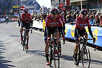 Lotto-Soudal team head to sign on before the start of Gent-Wevelgem in Flanders Fields 2017, running 249km from Denieze to Wevelgem, Flanders, Belgium. 26th March 2017.<br /> Picture: Eoin Clarke | Cyclefile<br /> <br /> <br /> All photos usage must carry mandatory copyright credit (&copy; Cyclefile | Eoin Clarke)