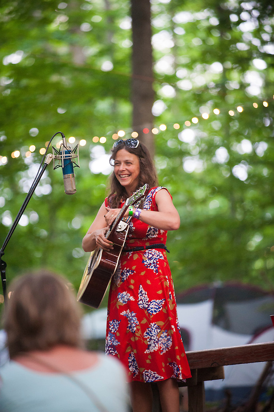 May Erlewine performs solo at the Song Tree of Blissfest a Michigan music festival.
