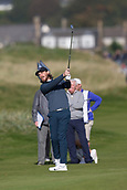 6th October 2017, Carnoustie Golf Links, Carnoustie, Scotland; Alfred Dunhill Links Championship, second round; England's Tommy Fleetwood hits a shot from the fairway on the second hole on the Championship Links, Carnoustie during the second round at the Alfred Dunhill Links Championship