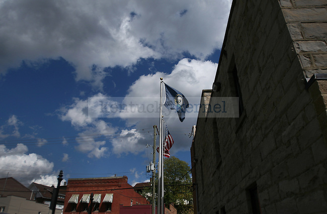The American and Kentucky state flags fly outside Jackson, Kentucky's City Hall. October 15, 2011. Photo by Melanie Hobgood