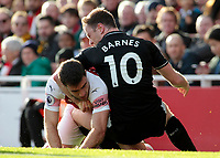 Burnley's Ashley Barnes tussles with Arsenal's Sokratis Papastathopoulos<br /> <br /> Photographer David Shipman/CameraSport<br /> <br /> The Premier League - Arsenal v Burnley - Saturday 22nd December 2018 - The Emirates - London<br /> <br /> World Copyright © 2018 CameraSport. All rights reserved. 43 Linden Ave. Countesthorpe. Leicester. England. LE8 5PG - Tel: +44 (0) 116 277 4147 - admin@camerasport.com - www.camerasport.com