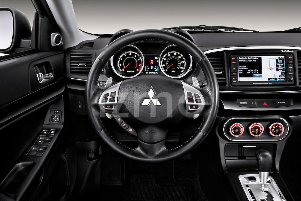 Steering wheel view of a 2012 Mitsubishi Lancer GT Touring