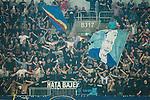 Stockholm 2015-08-24 Fotboll Allsvenskan Djurg&aring;rdens IF - Hammarby IF :  <br /> Djurg&aring;rdens supportrar med flaggor under matchen mellan Djurg&aring;rdens IF och Hammarby IF <br /> (Foto: Kenta J&ouml;nsson) Nyckelord:  Fotboll Allsvenskan Djurg&aring;rden DIF Tele2 Arena Hammarby HIF Bajen supporter fans publik supporters