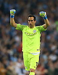 Claudio Bravo of Manchester City celebrates the first goal during the UEFA Champions League Group C match at The Etihad Stadium, Manchester. Picture date: September 14th, 2016. Pic Simon Bellis/Sportimage