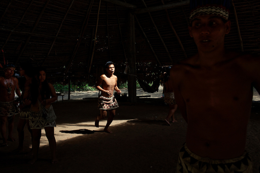 Near Iquitos, Peru, September 14, 2013 - Bora natives performing a tribal dance.