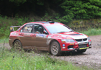 John Morrison / Peter Carstairs have an overshoot at Junction 12 on Special Stage 2 Windy Hill of the 2012 RSAC Scottish Rally supported by Dumfries and Galloway Council, Round 5 of the RAC MSA Scottish Rally Championship which was based in Dumfries on 30.6.12.